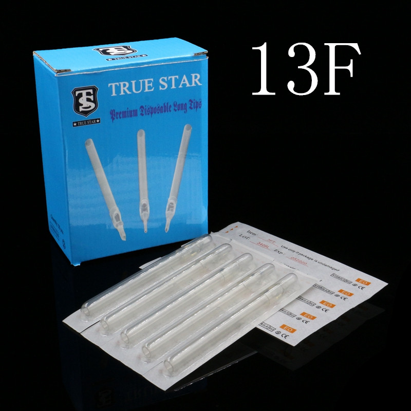 50pcs 108MM TRUE STAR Disposable Long Tips 13F