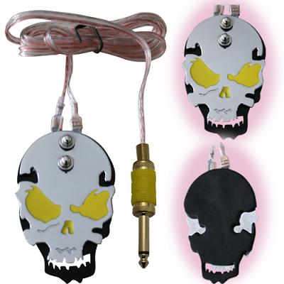 stainless steel skull foot pedal - yellow eyes