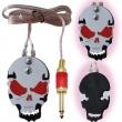 stainless steel skull metal tattoo foot pedal - red eyes